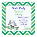 green and blue roller skate birthday invitations