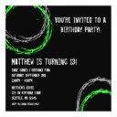 green and gray grunge circles boy birthday party invitation