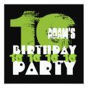 green black 10th birthday party 10 year old v02b invitations