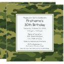 green camouflage birthday party invitations