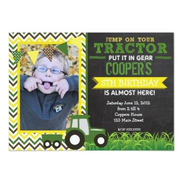 green chevron tractor birthday party invitations