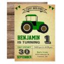 green farm tractor kids birthday party invitation