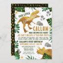 green gold dinosaur birthday party invitation