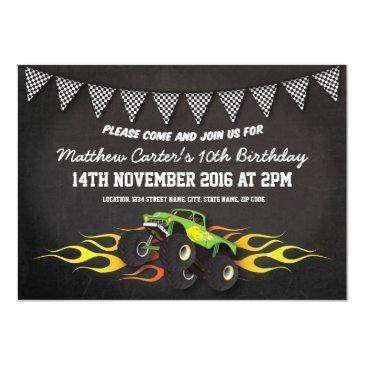 green monster jam truck birthday party invitations