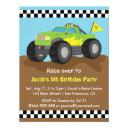 green monster truck birthday party invitation