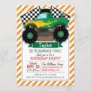 green monster truck, checkered flag; orange stripe invitation