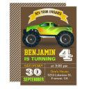 green monster truck kids birthday party invitation