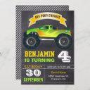 green monster truck kids birthday party invitation