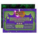 green & purple neon color glow bowl birthday party invitation