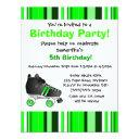 green roller skate birthday party - green stripe invitations