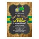 green tractor 1st birthday boy party farm invitations