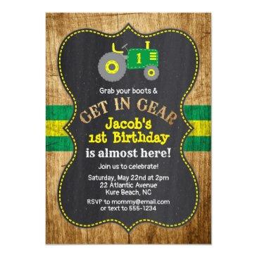 green tractor 1st birthday boy party farm invitation
