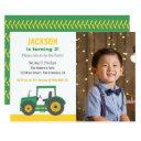 green tractor boys birthday party with photo invitation