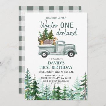 green truck winter onederland birthday party invitation