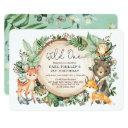 greenery woodland animals wild one 1st birthday invitation