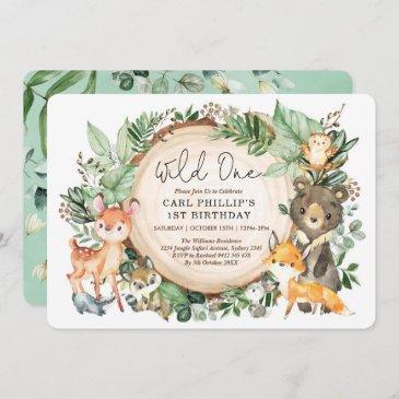 greenery woodland animals wild one 1st birthday invitation