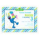 grover striped birthday invitations