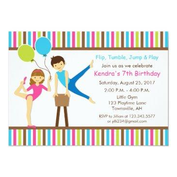 gymnastic birthday invitation girl and boy