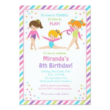gymnastic birthday invitation, gymnastic invite