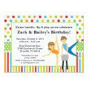 gymnastic boy and girl birthday party invitations