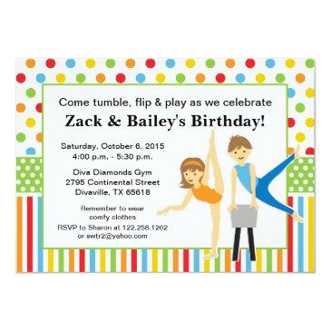 gymnastic boy and girl birthday party invitation