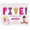 gymnastics 5th birthday invitations | hot pink