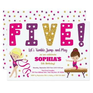 Gymnastics 5th Birthday Invitations