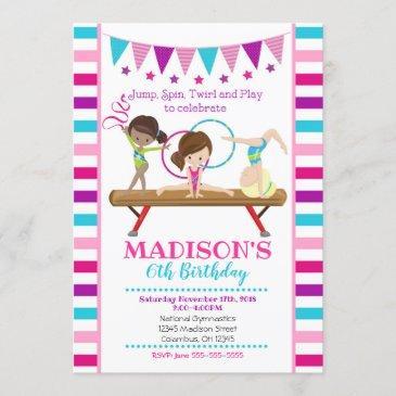 gymnastics birthday invitation / girl / pink teal