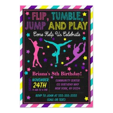 gymnastics birthday party invitations for a girl