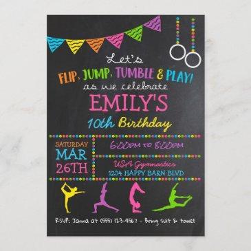gymnastics birthday party invitations gymnast flip