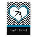gymnastics chevron heart personal party invitation