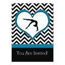 gymnastics chevron heart personal party invitations