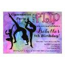 gymnastics flip girls birthday party invitations