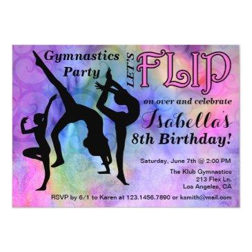 gymnastics flip girls birthday party invitations