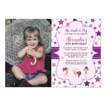 gymnastics photo girl stars birthday party invitation