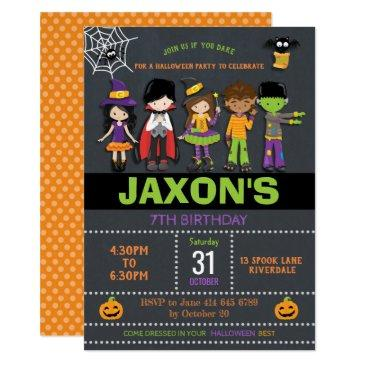 halloween birthday kids costume party invitation