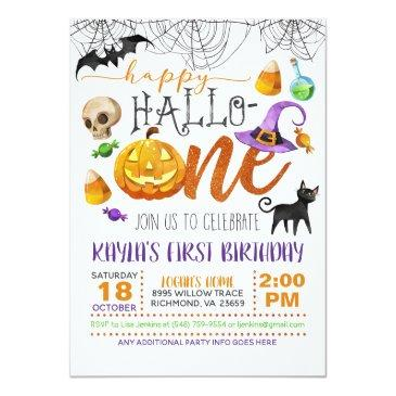 Small Halloween First Birthday Invitation Front View