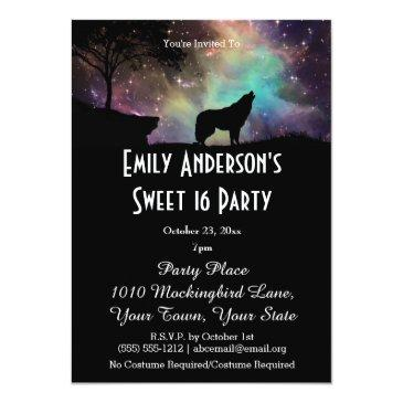 halloween galaxy wolf costume sweet 16 birthday invitations