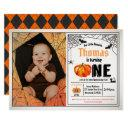 halloween pumpkin baby 1st first birthday photo invitation