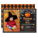 halloween pumpkin kid birthday party photo invitation