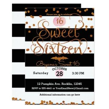 halloween sweet 16 birthday party black white pink invitation