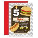 hamburger & hot dog birthday party invitations