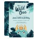 he's a wild one blue monster & tropical jungle invitations