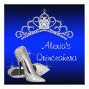 high heels tiara royal blue quinceanera invitation