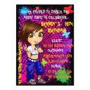 hip hop rapper girl green orange cartoon invitation