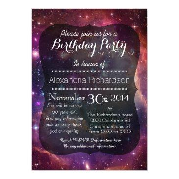 hipster galaxy outer space birthday party invitations