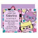hipster nerdy kitten cats girls birthday invitation