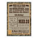 hog hunting 40th birthday invitations with camo