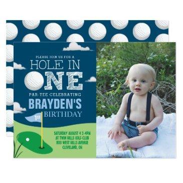 hole in one navy golf theme boys first birthday invitation