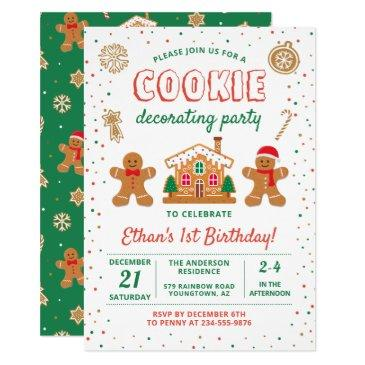 holiday cookie decorating party birthday invitation